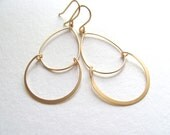 Delicate satin gold chandelier earrings, matte finish, circles, teardrops, dangle earrings