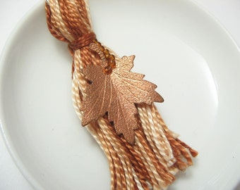 Fall Keychain - Brown Leaf - Beaded Tassel Keyring