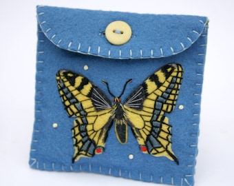 Felt butterfly purse, butterfly coin purse, butterfly jewellery case, one-of-a-kind hand-embroidered purse, butterfly gift bag.