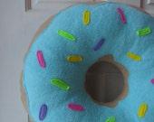 """16"""" Blue Frosted Doughnut Pillow"""