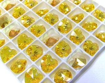 18 pcs LIGHT TOPAZ AB Swarovski Crystal Heart Beads 6202 10mm Wholesale Destash