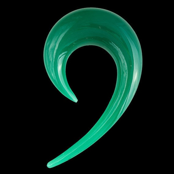 Green Onyx Ear Stretcher in Fish Hook Shape Ear by Tribulondon Ear Stretchers 10mm