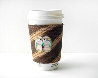 Coffee Cozy Necktie Coffee Cozy Brown Coffee Cozy Striped Coffee Cozy Coffee Cup Sleeve Beverage Holder Drink Cozy To Go Cup Sleeve Tea Cozy