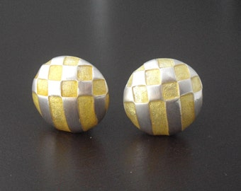 Yellow Earrings, Carolee Earrings, Yellow Enamel Earrings, Silver Earrings, Checkerboard Earrings, Pastel Earrings