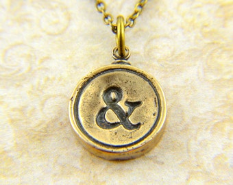 Ampersand Necklace - Bronze, White Bronze and Sterling Silver Available - Typewriter Key Charm Necklace