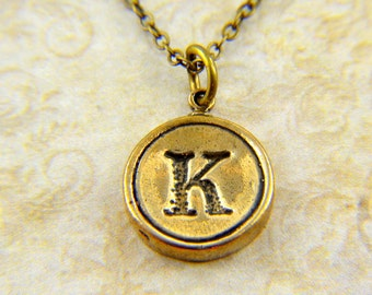 Letter K Necklace - Bronze Initial Typewriter Key Charm Necklace - Gwen Delicious Jewelry Design
