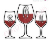 Wine Glass Monogram Font Frame - Small - Digital Machine Embroidery Design - - Instant Email Delivery Download