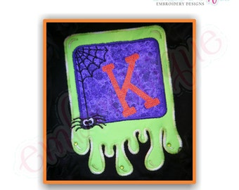 Slime Font Frame Applique- Instant Email Delivery Download Machine embroidery design
