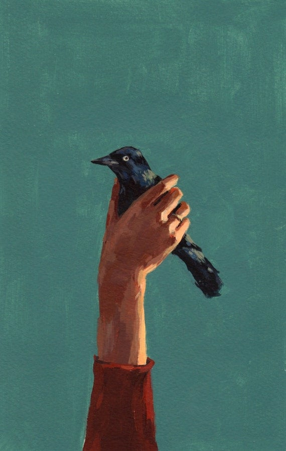 Bird in Hand . 5 x 7 giclee art print