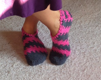 Fuschia to Grey Slippers, Women Slippers ,Handmade Slippers, Knitt Slippers