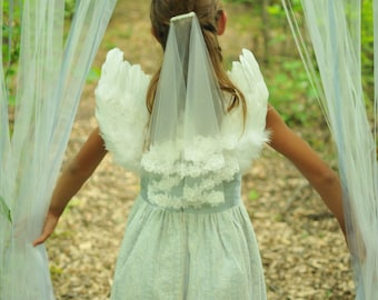 Communion veil in two layers with flower edge lace, Confirmation lace veil, flower girl lace veil in two tier with lace edge children's veil