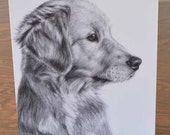Greeting Card Golden Retriever Puppy Drawing