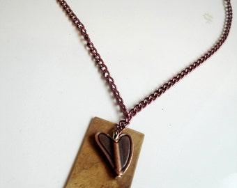 Copper Handstamped Love Pendant Necklace