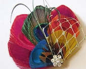 Peacock Hair Fascinator RAINBOW Spray with Gold Veil Perfect for a Fall Bride or Bridesmaids ROYGB