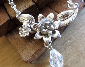 Silver Flower Necklace, Crystal Flower Necklace, Wedding Necklace, Crystal Drop Necklace, Bridal Necklace