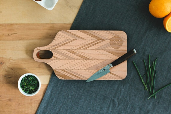 Custom Initial Engraved Wood Cutting Board 7x13 Plank For Wedding, Anniversary Personalized by AHeirloom