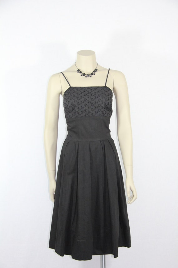 SALE......1950s Perfect Black Sun dress - Polished Cotton and Eyelet LBD - 34 / 26 / full
