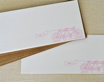 Letterpress Love Bike- Set of 8 Note Cards & Kraft Envelopes