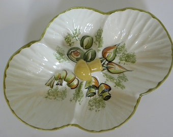 Vintage 1960s Los Angeles Pottery Divided Tray -- Mushrooms and Veggie Design Serving Platter Relish Dish