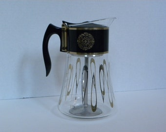 Vintage David Douglas Coffee Percolator-- Teapot Coffee Pot Carafe -- 8 Cup Clear Glass with metallic gold pattern