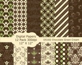 Buy 2 GET 1 FREE - Instant Download - Brown Green Cream Floral Flowers Digital Paper pack Scrapbooking Card Making Invites Backgrounds DS182