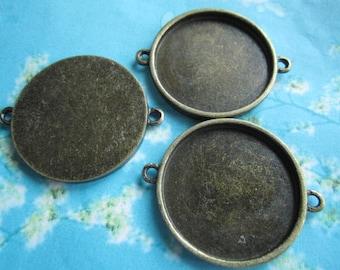 10pcs antiqued bronze 30mm round bezel base/picture frame setting connectors