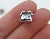 5 Telephone bead charm 12 x 11mm antique silver tone - fits European charm bracelet C26