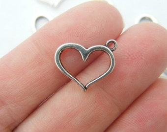 BULK 50 Heart charms ( double sided ) 16 x 12.5mm antique silver tone H4