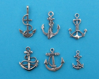 The Anchor Collection - 6 different antique silver tone charms