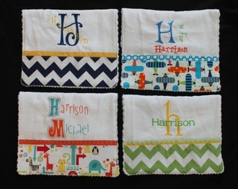 HARRISON) --Personalized Baby Burp Cloth SET OF 2 or 3 or 4