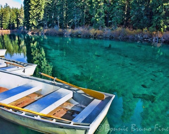 Clear lake photographic print turquoise water row boats at for Clear lake oregon fishing