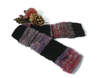 Hand Knit Gloves Fingerless Hand Warmers Shabby Chic Black Red Gray Purple Christmas In July