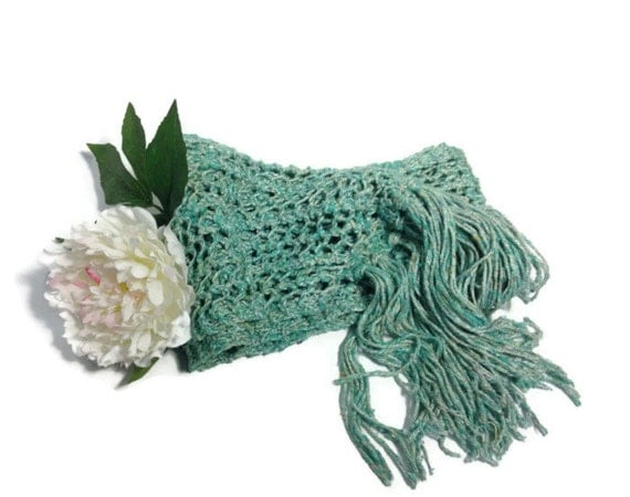 Knit Scarf, Gift For Her, Green Scarf, Knit Scarf, Lacy Scarf, Silk Scarf, Hand Knit Scarf, Fiber Art, Womens Scarf,