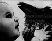 PETER PAN , Raven artwork , Raven, crow,  Etching, 5 inch x 7 inch 2013