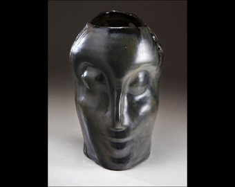 Handmade Ceramic Vase in Shape of Human Head in Black by Boris Vitlin