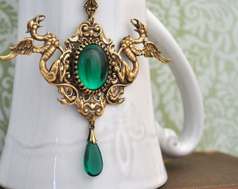 neo Victorian style necklace - EMERALD - antiqued brass twin dragon necklace with green vintage Swarovski glass cab