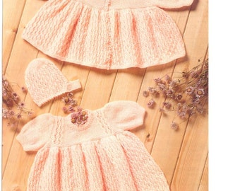 Baby Knitting PATTERN Download  - Dress, Matinee coat/Jacket and Bonnet Premmie sizes included 12- 20 inches