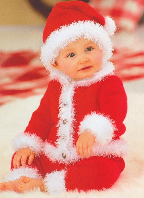 Baby Knitting Pattern Knitted Santa Suit For Christmas Xmas
