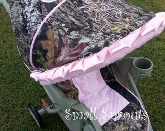 Mossy Oak Breakup/ Light  PinkMinky Dot/Pink Buckmark Stroller Cover