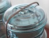 2 Blue Vintage Glass Lids for Wire Closure Mason Jars