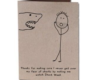Thank You Humor Greeting Card Sharks