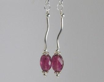 ROSE BUD Watermelon Tourmaline Earrings, Sterling Silver Earrings, Watermelon Tourmaline Stone Jewelry, Dainty Drop Pink Tourmaline Earrings