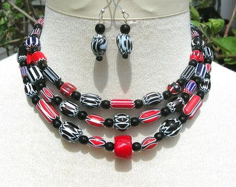 African Trade Beads - Red & Black Chevron Beads, 1 Coral Bead, Black Onyx Beads, Multi- 3-Strand Tribal Choker Necklace Set by SandraDesigns