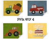 20% OFF SALE Transportation Set Nursery Art - Set of Four 8x10 PRINTS - Create your own set nursery decor