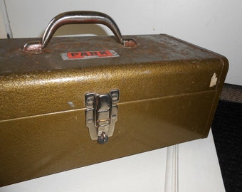Old Industrial Metal Tool Box with Inner Tray