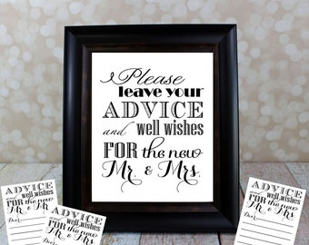 Please leave your Advice and Well Wishes Table Sign with Cards included. Set  8 X 10 in. Instant Download, Wedding Card DIY Printable File.