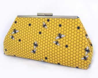 Beehive print clutch lined with contrast color faux silk - Framed Clutch-  Purse - Bag