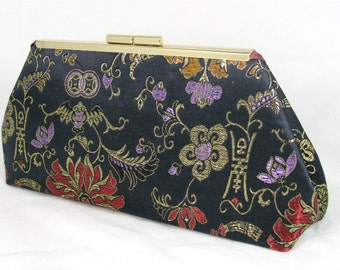 Brocade clutch lined with a silk - Framed Clutch - Purse - Bag - Holiday