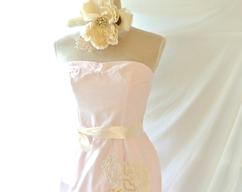 pink party cocktail dress, shabby sundress, romantic country strapless dress, sweetheart neckline, shabby pink blush, true rebel clothing, M