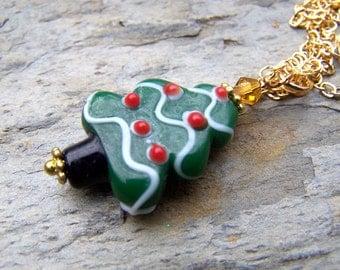 Christmas Tree Jewelry Christmas Necklace Holiday Jewelry Winter Holidays Necklace Gold Chain